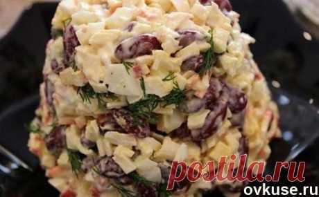 Быстрый салат с фасолью и крабовыми палочками (105 ккал/100 гр) - Простые рецепты Овкусе.ру