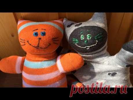 Коты из носков развивающие, мастер класс. Игрушки своими руками