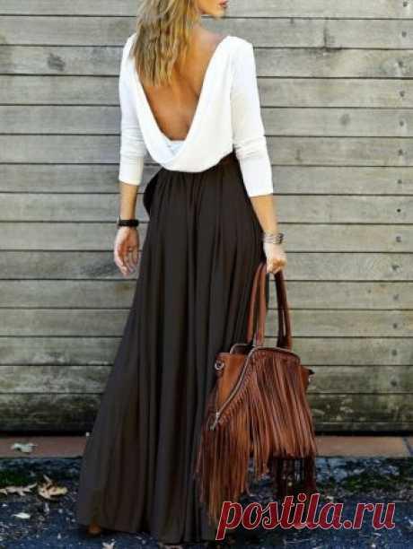 Макси-юбка и открытая спина. — Модно / Nemodno