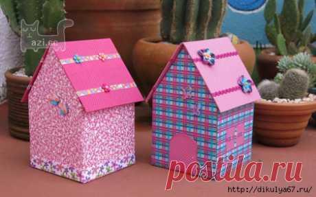 Домик - коробка из картона и ткани