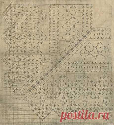 El esquema de la labor de punto de la orla de encajes del pañuelo. El comienzo de la labor de punto del pañuelo. 1 hoja de 2х