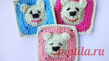 Квадратный мотив с мишкой  The square motif with bear Crochet