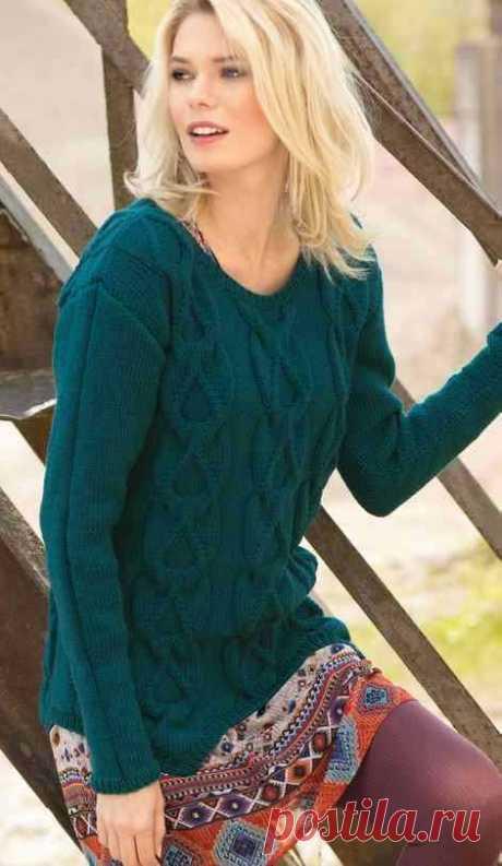 Изумрудный свитер спицами для женщин - Портал рукоделия и моды