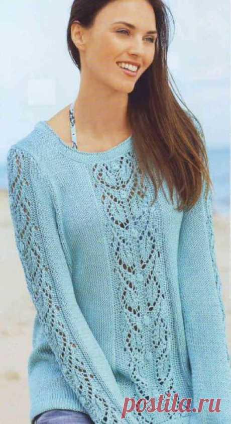 Пуловер спицами с узором из листьев | Ажурные Узоры