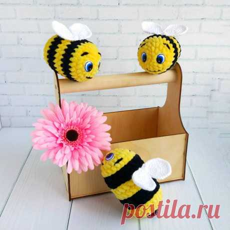 Вязаная пчёлка из плюшевой пряжи | Hi Amigurumi
