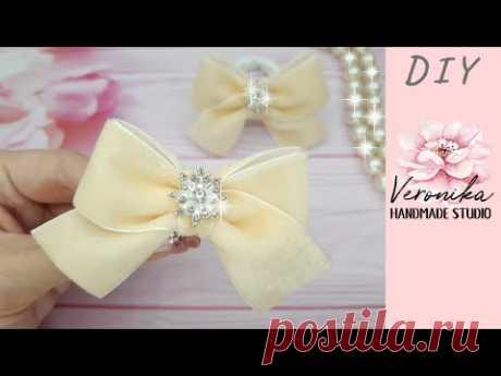 Зимние бантики под шапку из бархатной ленты 2,5 см 🎀 Velvet ribbon bow 🎀 Laço de veludo
