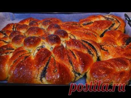 Пышный пирог с маком Дрожжевые булочки с маком Красивая выпечка рецепт