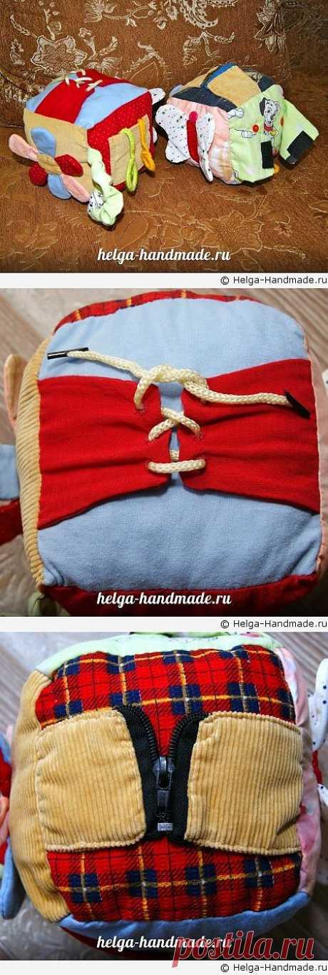 Мягкий развивающий кубик для малышей своими руками, мастер-класс   helga-handmade.ru