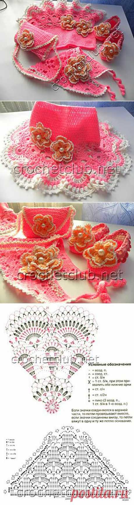 Розовый комплект для малышки - Вязание Крючком. Блог Настика