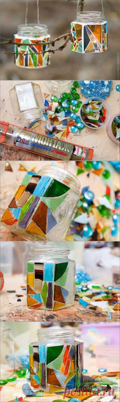 Мастер-класс «Подсвечники для сада из стеклянных банок»