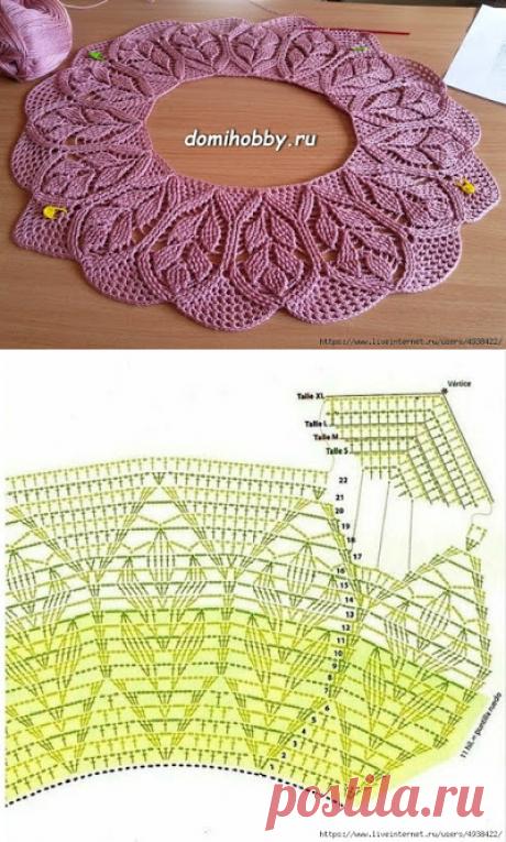 Вязание круглой кокетки с узором рельефных веточек - Подружки - медиаплатформа МирТесен