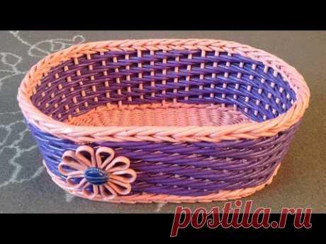 #1095 Мастер-класс c Ниной Корзинка из газет Woven basket from newspaper ENGLISH SUBTITLES