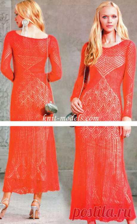 Длинное платье с ажурным узором