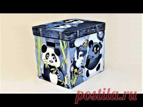 Красивая коробка с аппликацией из джинсовых лоскутов. Вещи из старых джинсов. DIY Jeans applique box - YouTube