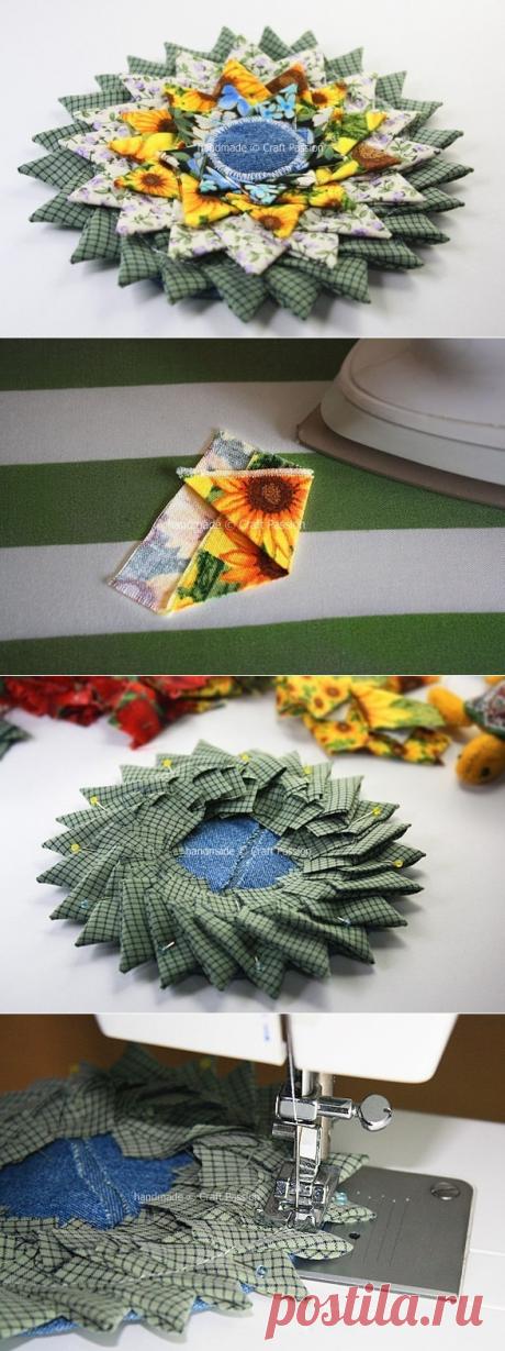 Шьем сами оригинальный коврик и подставку под горячее из треугольников