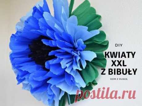 DIY: Duże kwiaty z bibuły XXL 3D - dekoracja przyjęcia | Dom z duszą