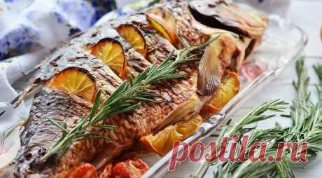 Запечённый карп по-польски, пошаговый рецепт с фото