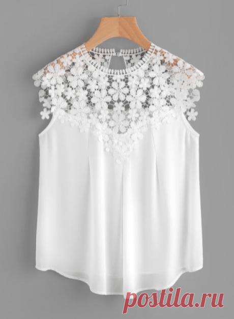 Воздушные белые блузки с кружевом | Калейдоскоп Рукоделия