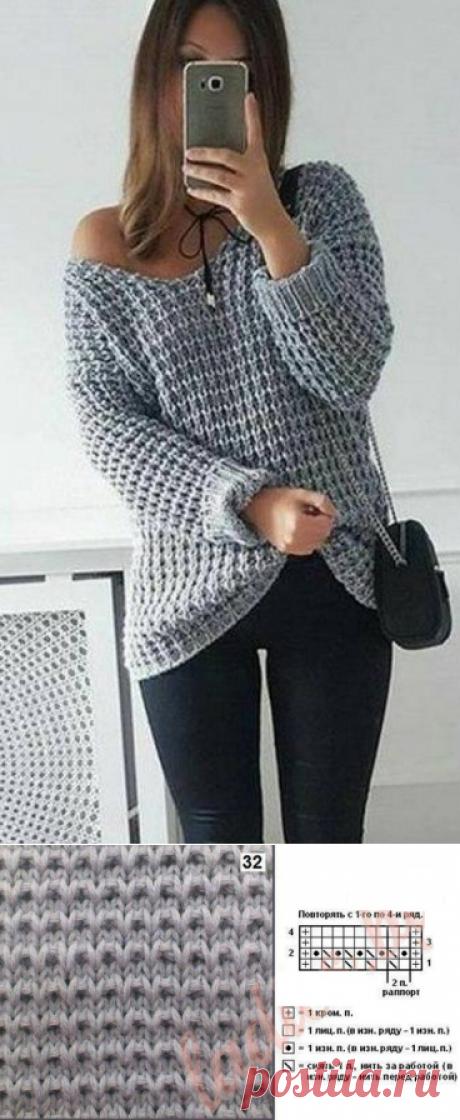 Крупный узор спицами для вязания пуловера | Узоры спицами