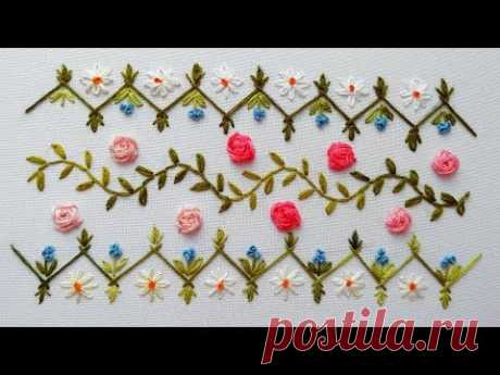 embroidery| Border Design | Rose Stitch  | Вышивка | Дизайн для бордюра - YouTube