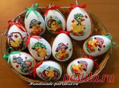 Весёлые пасхальные яйца с вышивкой