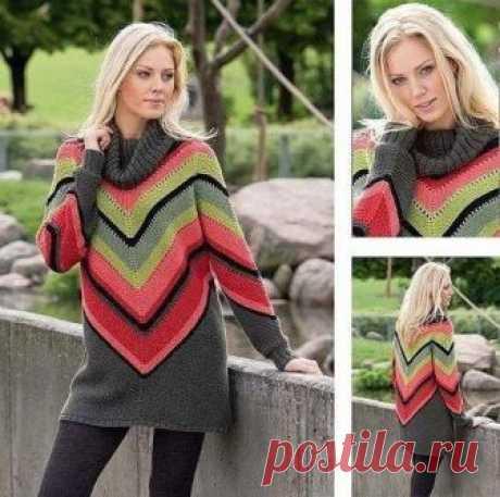 Вяжем яркий свитер в мексиканском стиле Оригинальный свитер в этно-стиле. Не смотря на простоту узоров, работа над ним достаточно сложна.