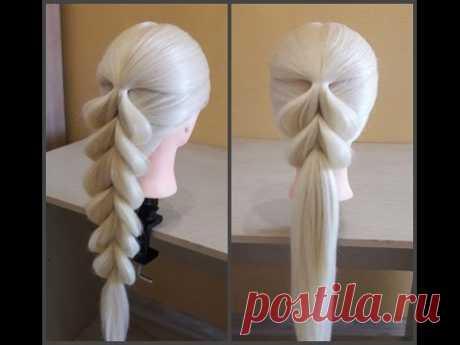 Французская коса в обратном положении🌺Легкий способ самой себе сделать косу.Коса на резинках. - YouTube