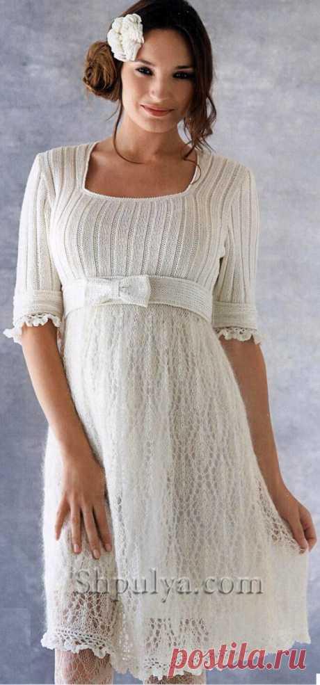 Белое платье, вязаное крючком и спицами - SHPULYA.com
