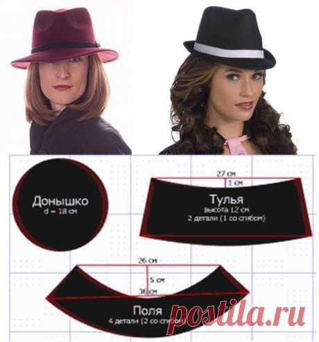 Выкройка шляпы-федоры — DIYIdeas
