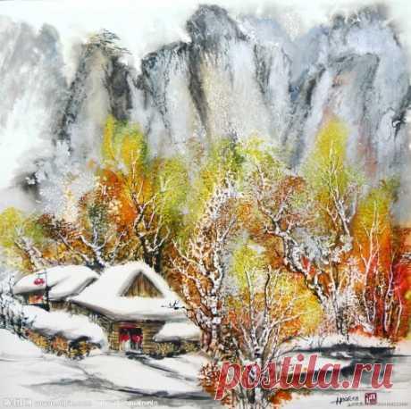 Зима в акварели Bai Haoran (59 картин) » RadioNetPlus.ru развлекательный портал
