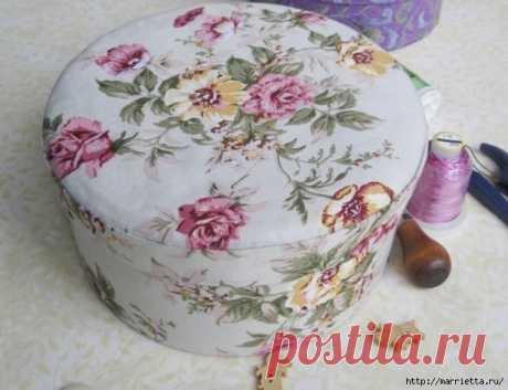 Круглая шкатулка из ткани и картона своими руками