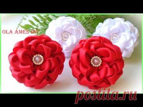 Канзаши/Цветы из репсовых лент/DIY Grosgrain Ribbon Flowers/Flores de fita/Ola ameS DIY - YouTube