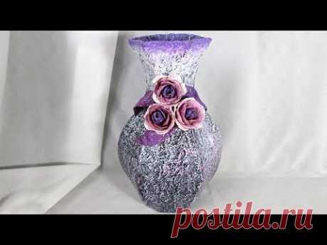 Сделали вазу своими руками из тетрапакетов. Это замечательная поделка из бросового материала, которую сможет сделать даже новичок. В такую вазу не налить вод...