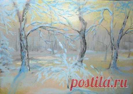 Рисуем пастелью зимний пейзаж — DIYIdeas