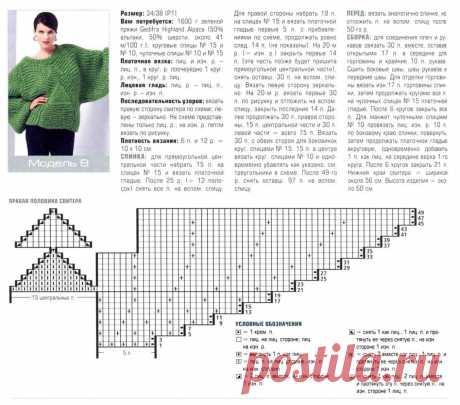 МК по вязанию спицами женского свитера крупной вязки с треугольным рисунком подробным описанием и схемой