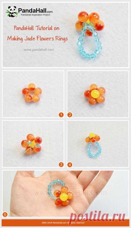 Нефритовые Цветы Кольца Это кольцо имеет нежный и теплый цвет и идеально подходит для летней одежды. Бисером техника, выполненная в форме цветка. Производственный процесс не сложный, давайте научимся его делать.