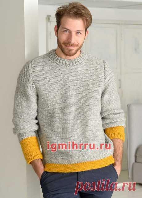 Мужской серый пуловер с желтыми вставками. Вязание спицами со схемами и описанием