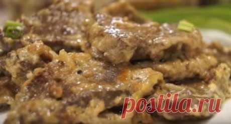 Печень говяжья томленная в сливках. рецепт с фото