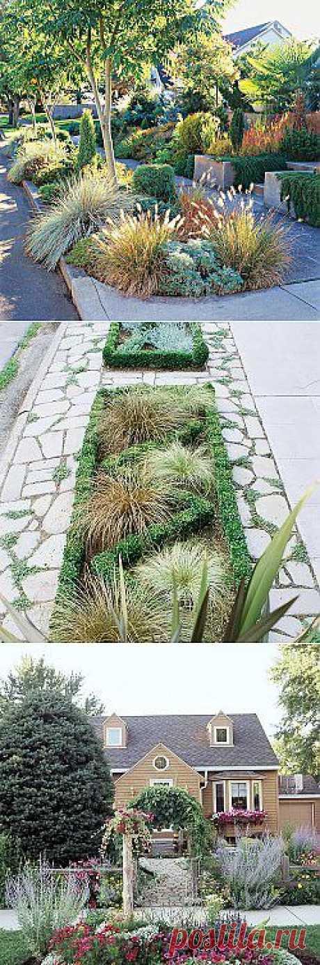 Дизайн маленького сада. Входная зона на участке | Лавочка