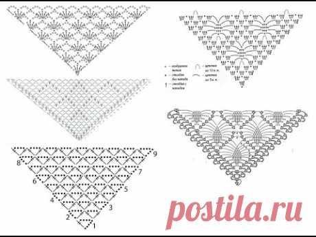 Ажурные узоры для шали крючком - идеи и схемы для вязания Ажурные узоры для шали крючком - идеи и схемы для вязания   Видео подборка схем для вязания крючком ажурных шалей треугольной формы. Простые узоры и схемы подойдут для новичков.