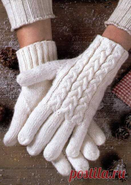 25 описаний перчаток спицами со схемами вязания