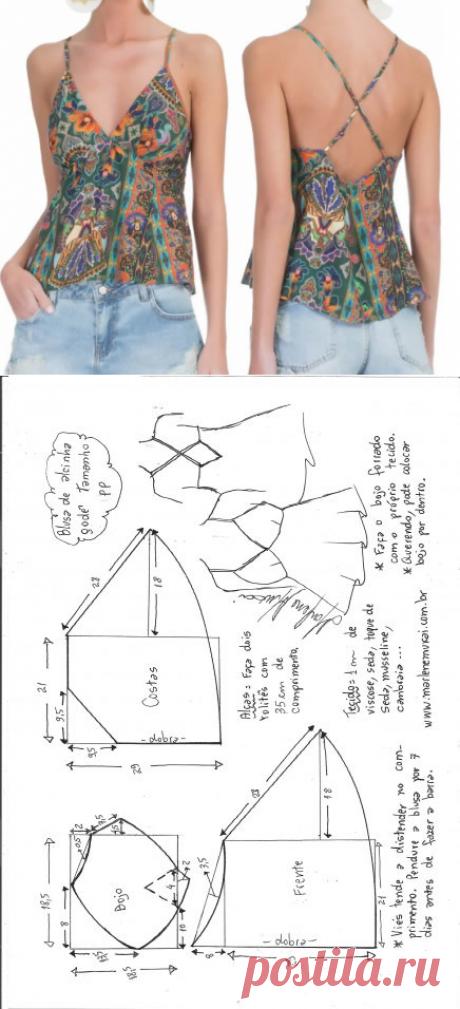 Tanks a blouse with extending triangular camber - DIY - molding, dressmaking - Marlene Mukai