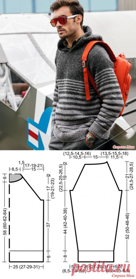 Мужской пуловер с капюшоном - Вязание спицами - Страна Мам