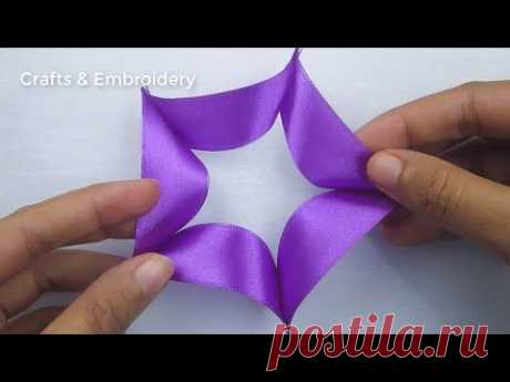 Hand Embroidery, Easy Ribbon Flower Making Idea, Ribbon Tricks