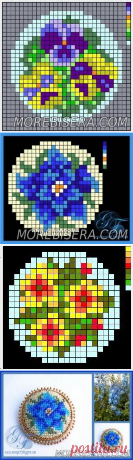 Схемы для вышивки брошей с цветами - Цветы - Схемы плетения бисером - Сокровищница статей - Плетение бисером украшений, деревьев и цветов, схемы мк