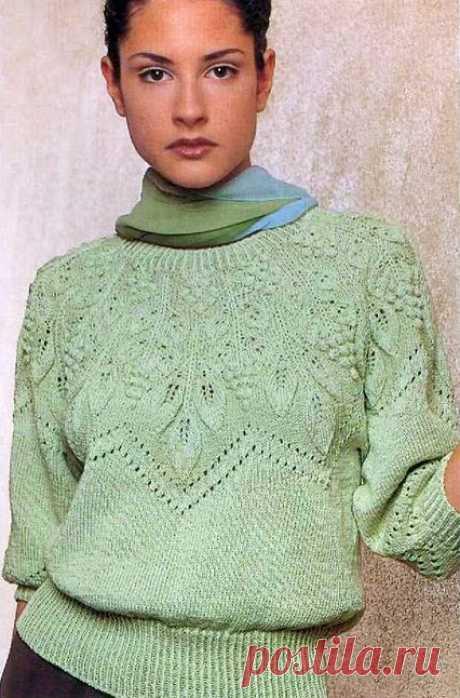 женский пуловер с круглой кокеткой спицами. китайская модель