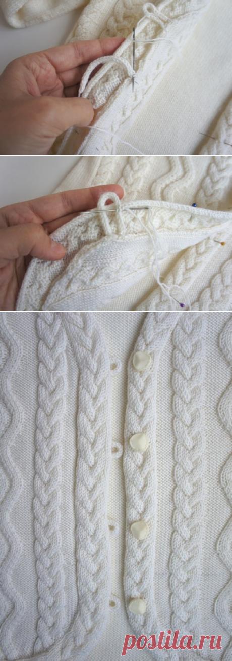 Застежка на вязаной кофточке просто и легко (Уроки и МК по ВЯЗАНИЮ) | Журнал Вдохновение Рукодельницы
