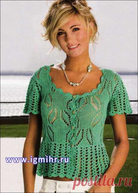 Зеленая ажурная блузка с баской, от итальянских дизайнеров. Спицы и Крючок.