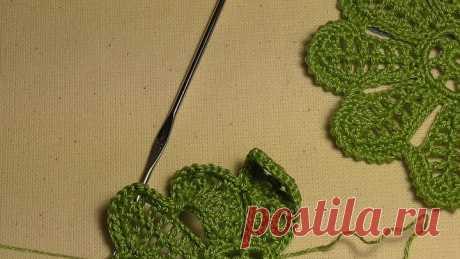 Цветок на семь лепестков с стебельком. Ирландское кружево.Видео-урок.