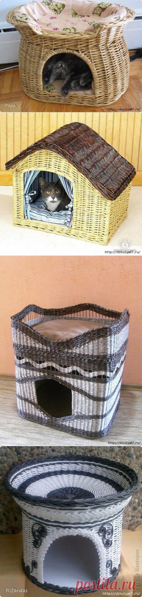 Кошачий домик из газетных трубочек